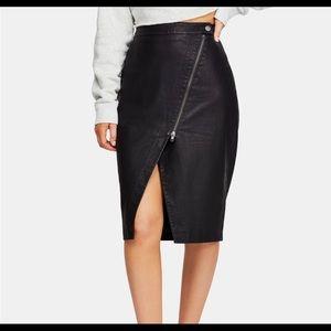 Free People Womens Skirt 2 Vegan Leather Zipper